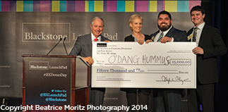 Jesse Wolfe and O'Dang Hummus receive best student-run venture at the Blackstone LaunchPad Demo Day in New York City.